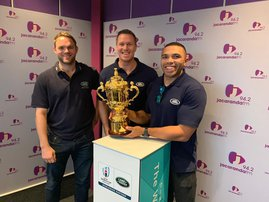 Bryan Habana, Jean de Villiers and the Web Ellis Cup joins Rian