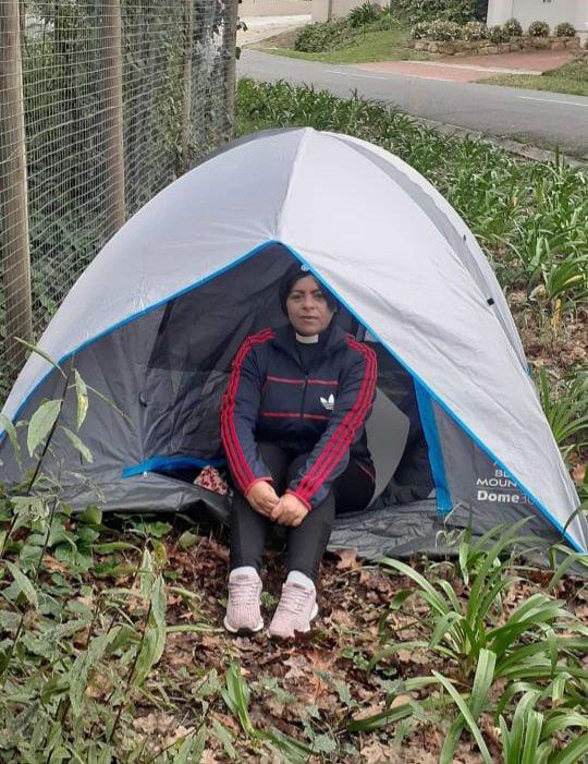 Rev June Dolley Major hunger strike outside Bishops court
