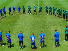 Mamelodi Sundowns team training tribute to Anele Ngcongca