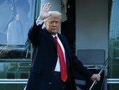 Donald J Trump waves goodbye
