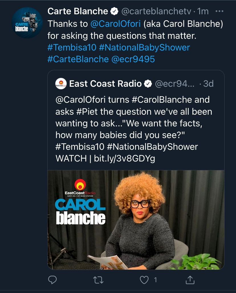 Carol Blanche gets retweeted by Carte Blanche