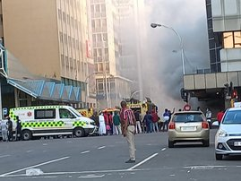 Suspected arson sees clothing store ablaze in Durban CBD