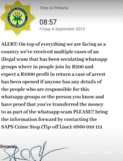 WhatsApp stockvel police warning