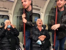WATCH: Is it okay to share your mom's age with a train full of people?