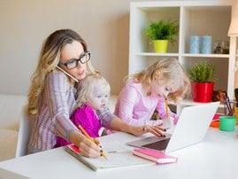 Working mom with kids