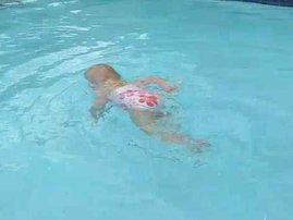 baby swims