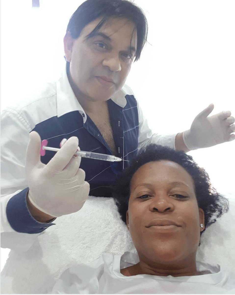 Zodwa Wabantu getting IV shots.