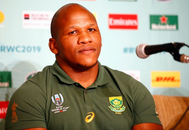 Bongi Mbonambi during the South African national rugby team media conference / Steve Haag via Hollywoodbets