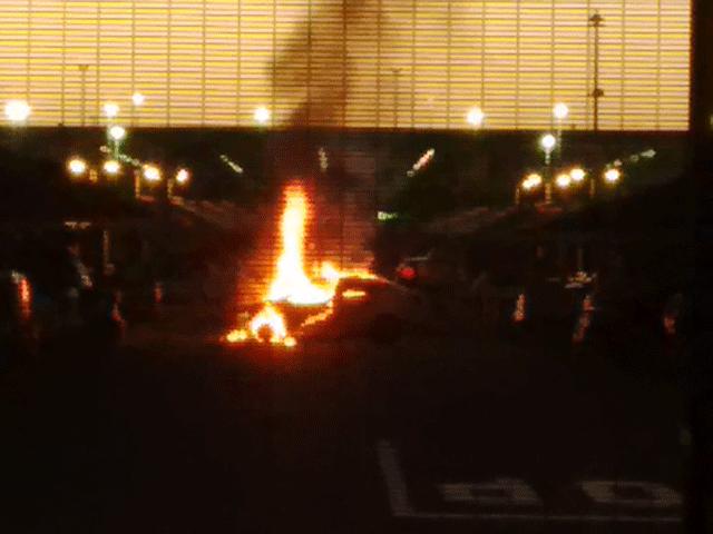 Car engulfed in flames outside King Shaka Airport
