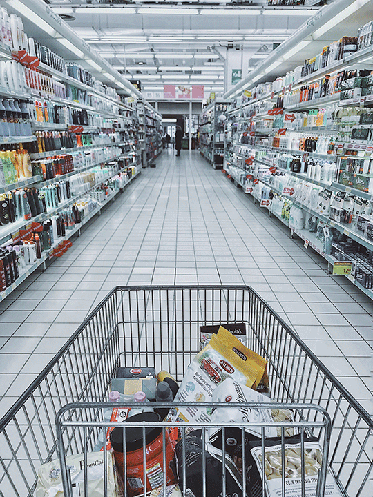 Shopping trolley in aisle