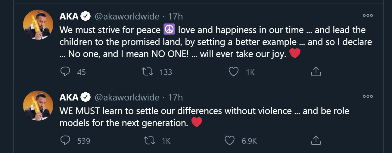 AKA fight tweet