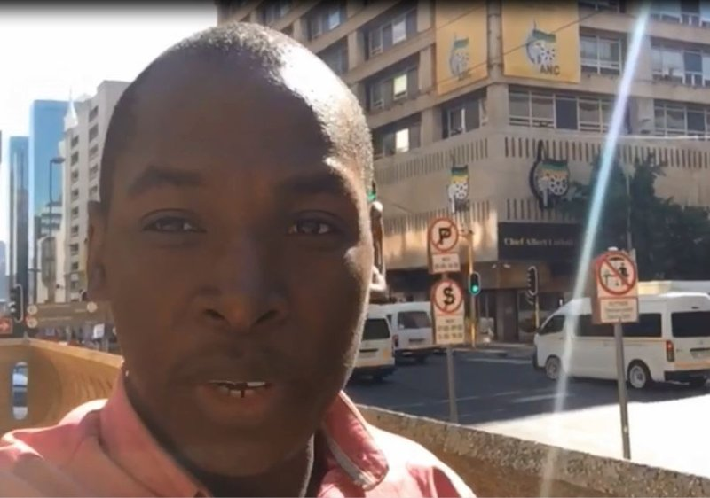 Samkele Maseko outside Luthuli House