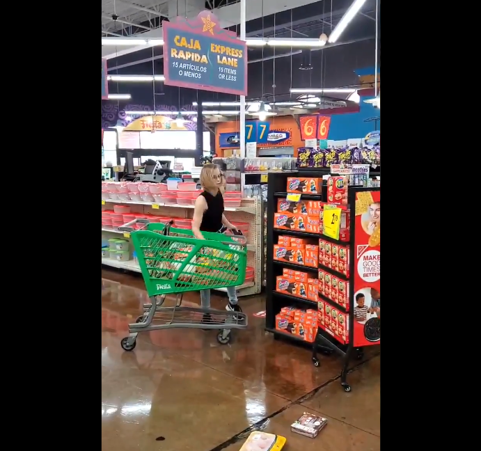 Woman throwing tantrum at supermarket when asked to wear a mask