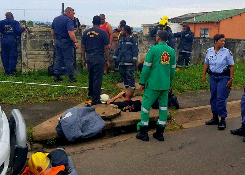 Durban rescuers dig trench to save newborn stuck in a drain