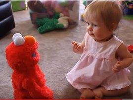 baby discovers elmo