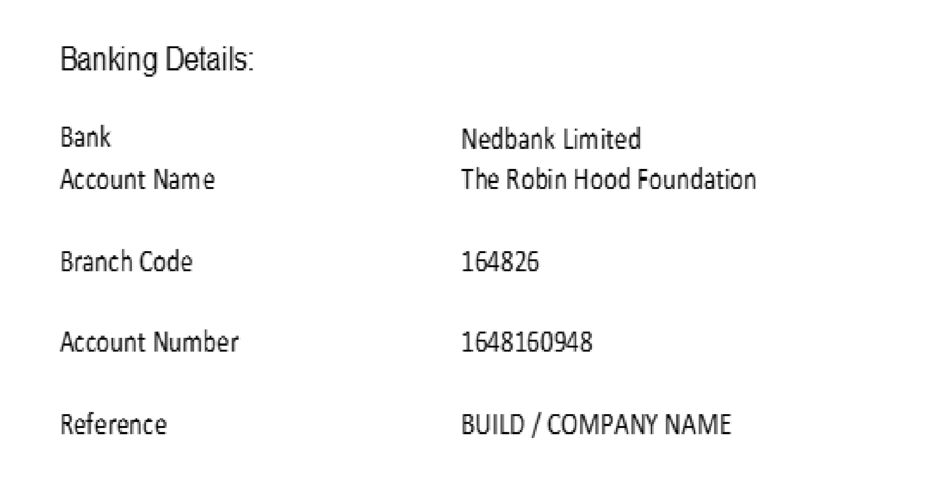 banking details for robin hood