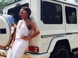 Bonang Matheba with a Mercedes GLA