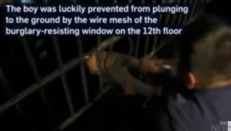 Two-year-old boy safe after falling from 13th floor in China