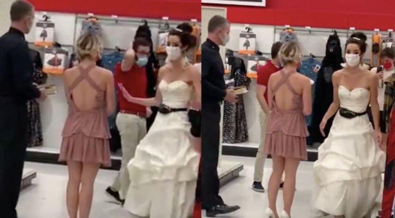 Bride at work demanding a wedding on the spot