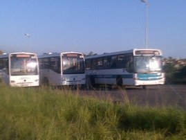Buses blockading roads