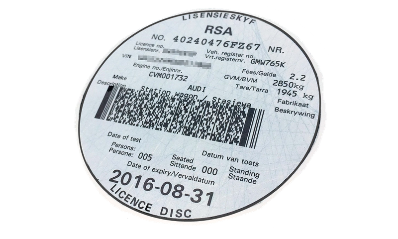 Vehicle licence disc