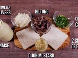 Cheesy biltong sandwich