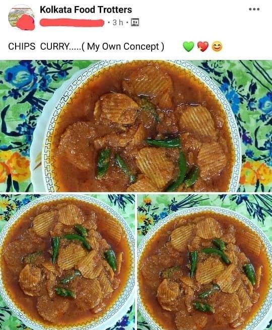 WEIRD: A curry made out of potato chips/crisps