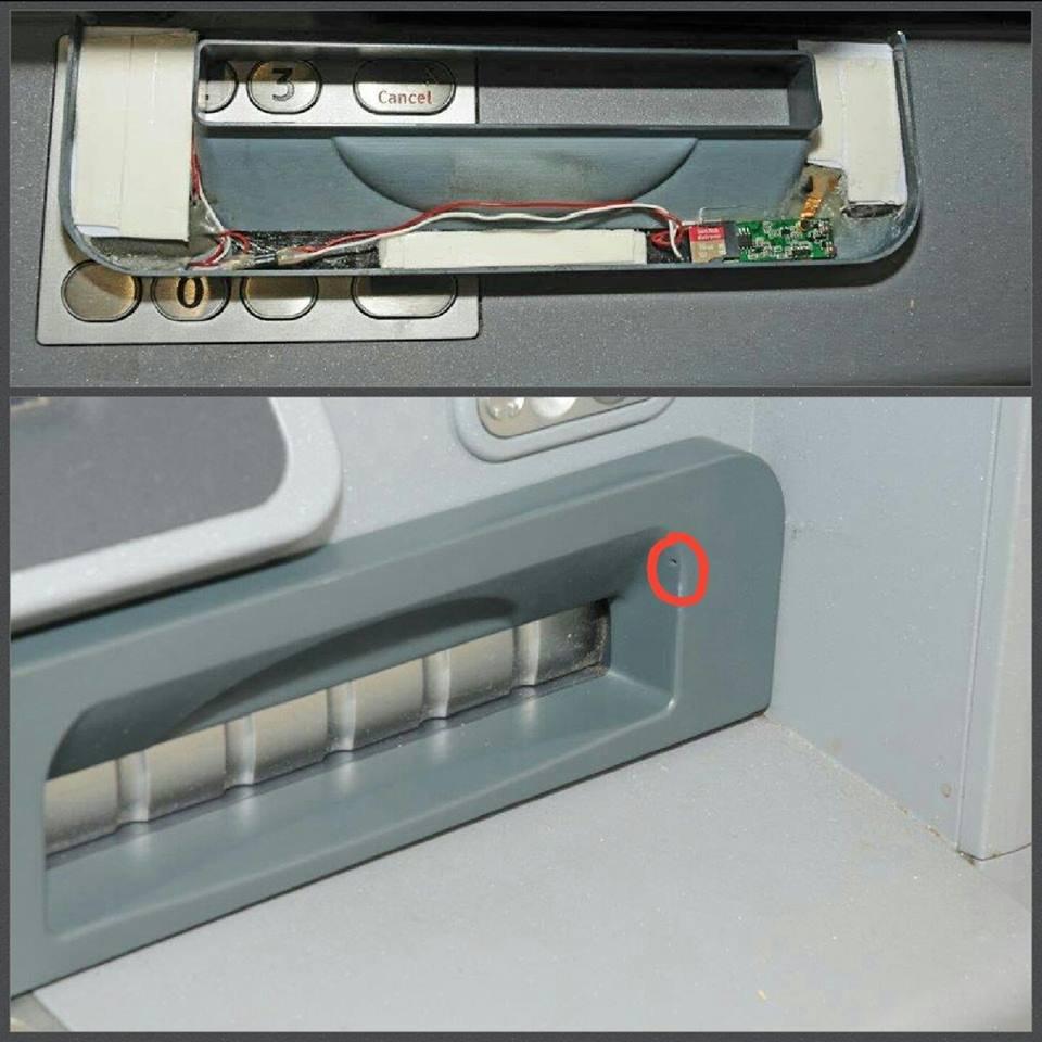 Fraudsters use tiny pinhole cameras at ATM