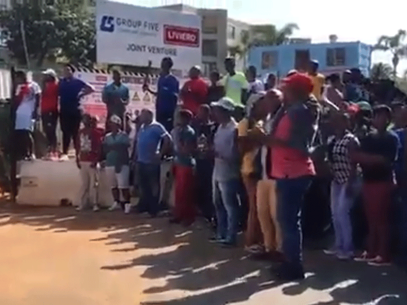 Protest outside Oceans Umhlanga site