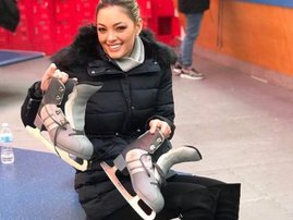 Demi-Leigh Nel-Peters ice-skating in NYC