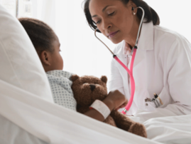 Doctor, child in hospital