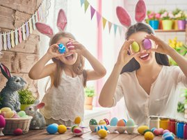 Mom  and daughter with easter eggs