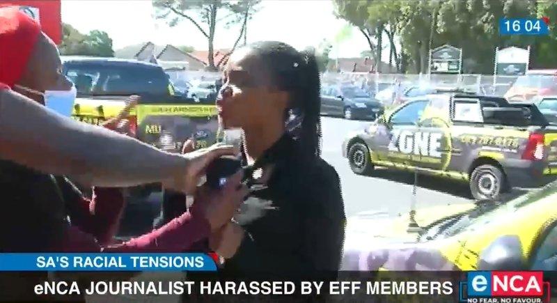 EFF members anhandle enca journalist in Cape Town