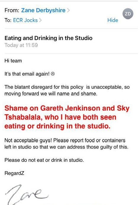 zanes email shaming sky