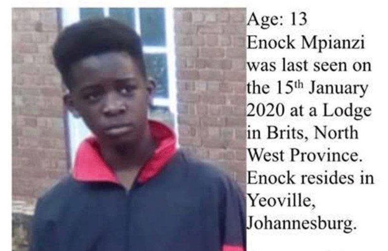 Enoch Mpianzi missing at camp Parktown Boys High