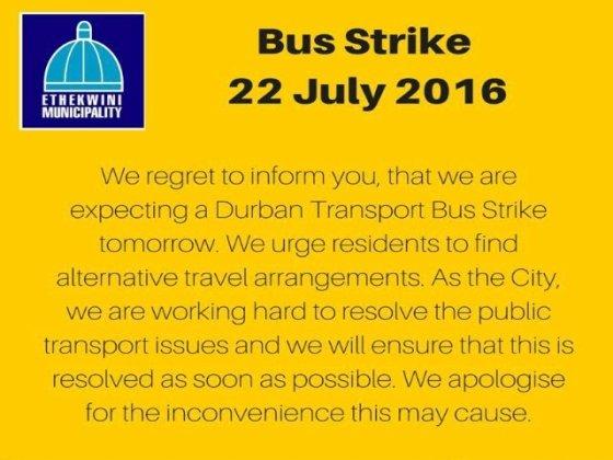 eThekwini warns commuters of possible bus strike