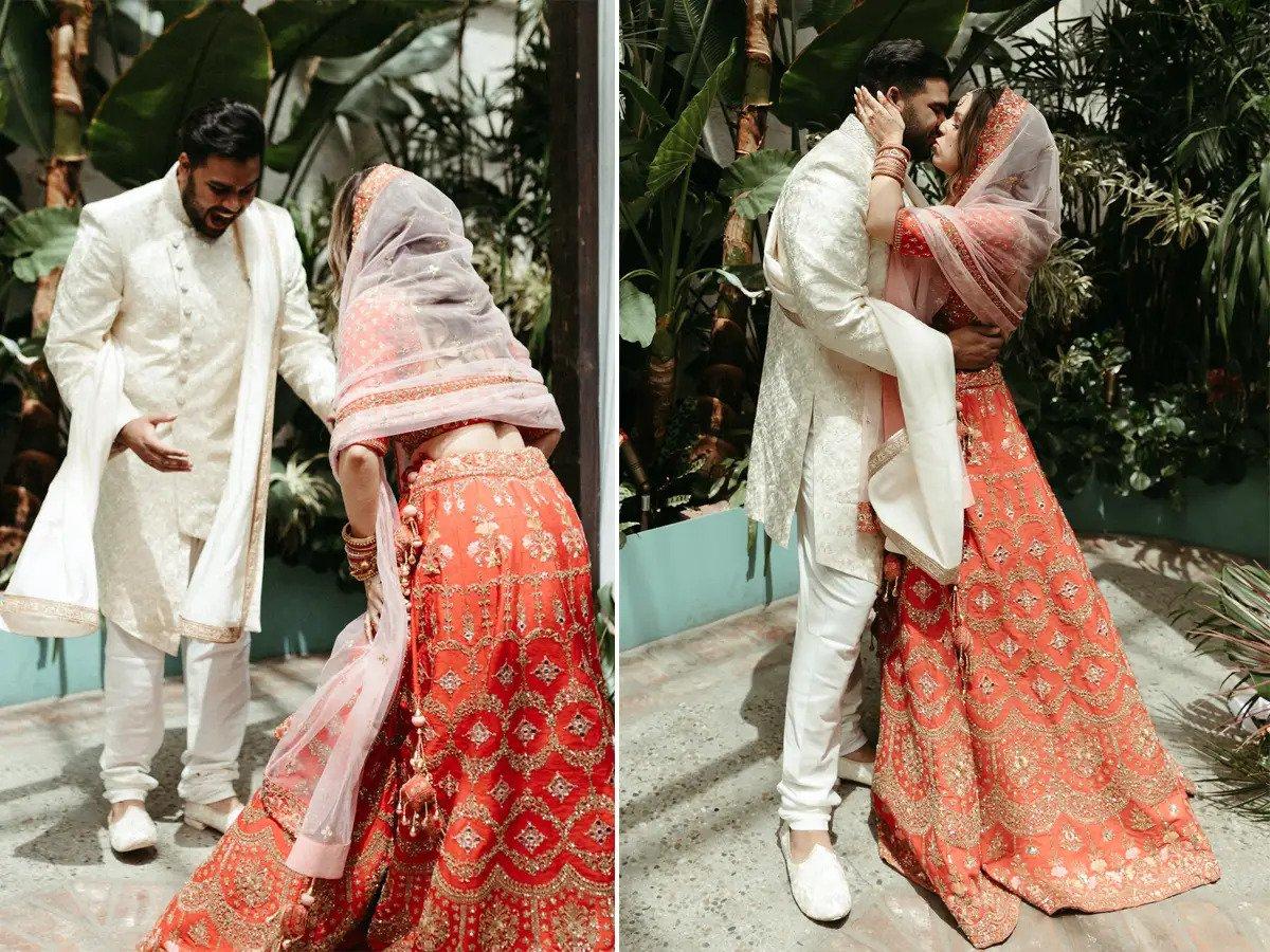 WATCH: TikToker bride wears see-through dress & traditional Indian lehenga