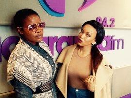 Bridget Masinga with Dineo Moeketsi doing diva stances