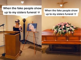 """WATCH: A sister speaks out at her baby sister's funeral: """"She didn't even like you...You can leave the room."""""""