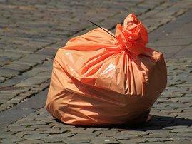 Orange plastic bags