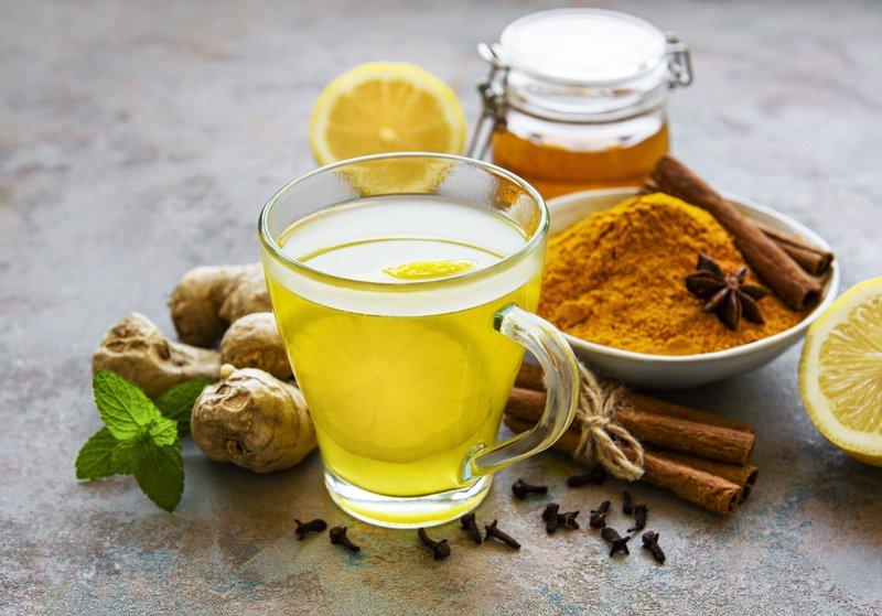 Ginger, turmeric, honey, lemon, cinnamon tea