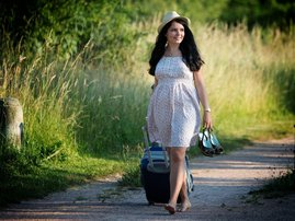 Woman leaving for vacation