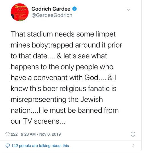 Godrich Gardee tweet about Angus Buchan