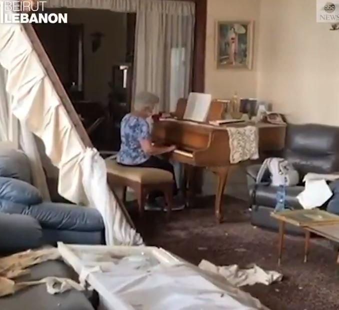 A grandmother playing the piano in Beirut
