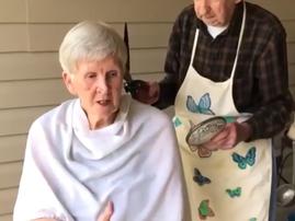 grandparents cutting hair