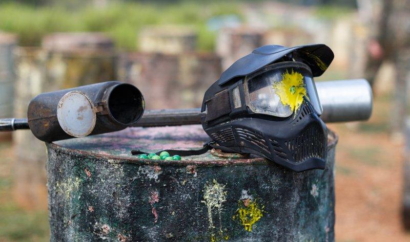 Paintball mask with splash stock photo