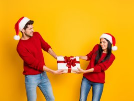 Christmas couple fight
