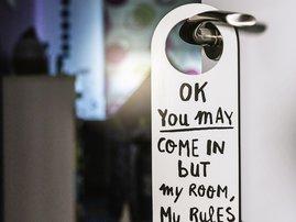 Door of home room with message