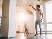 Couple dancing apartment