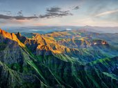 Drakensberg Amphitheatre in South Africa stock photo